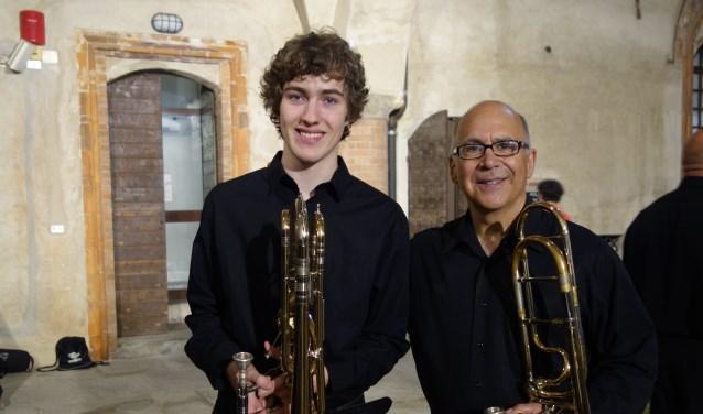 De Goudse Pelle van Esch met Joseph Alessi, een van de beste trombonisten ter wereld. Foto: PR