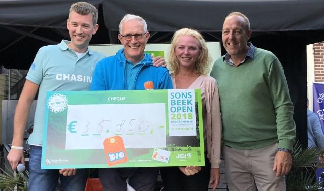 Bio Vakantieoord ontvangt cheque van € 35.850 van Sonsbeek Open 2018