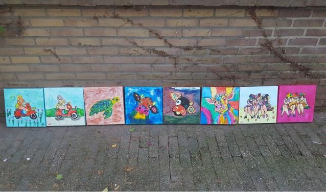 Resultaat workshop Happy Painting bij De Zonnebloem.