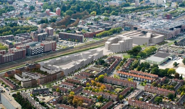 Op het voormalige distributie- en opslagterrein van de Drie Hoefijzers ligt er 'n plan van AM voor in totaal 270 woningen en appartementen.