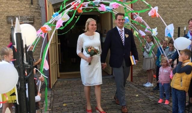 Een verrassing voor het bruidspaar. (Foto: Privé)
