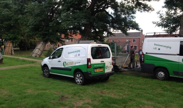 Hacron Groen Boomverzorging druk aan het werk met het voorbereidend werk aan de Kleine Gracht Bredevoort