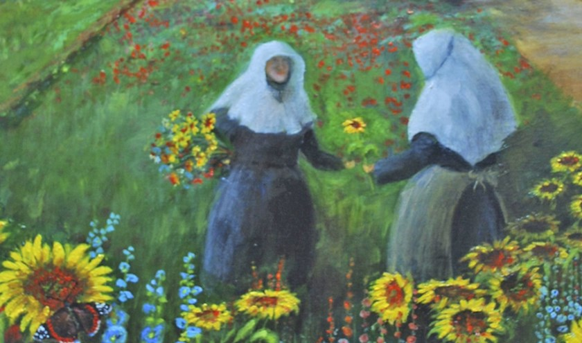 Op de flyer van de expositie staat een kleurrijk werk van Jan Coertjens.