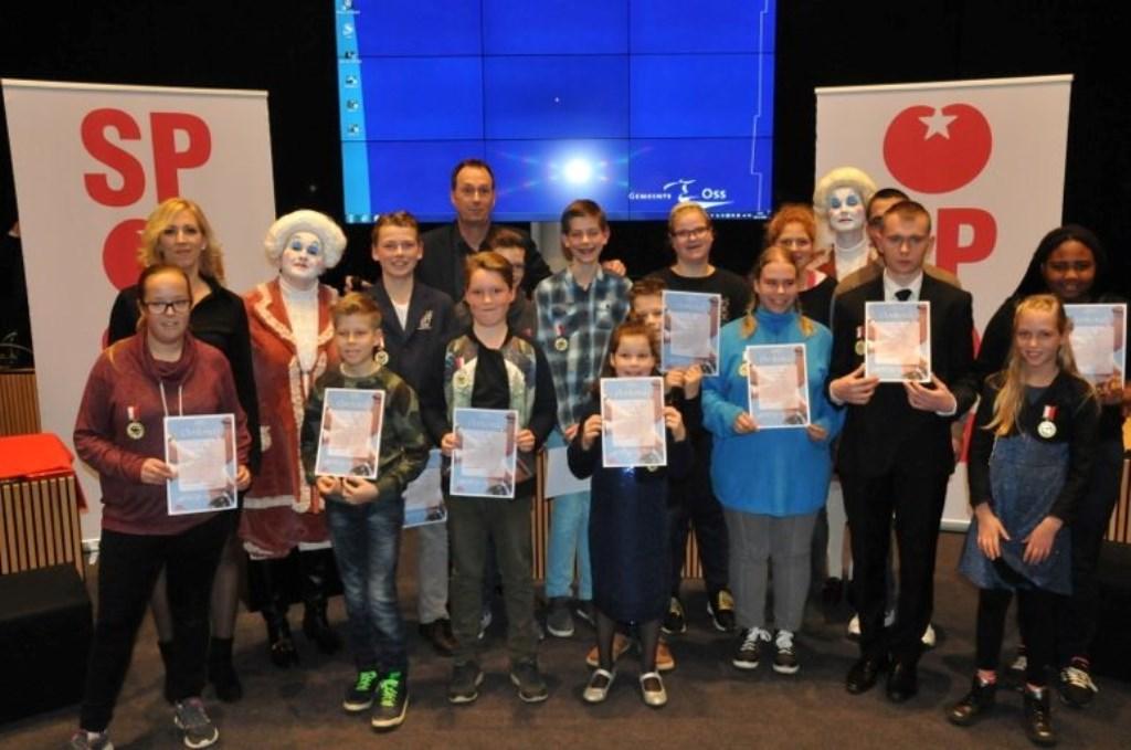 Winnaars van de SP-kinderlintjes in 2016.