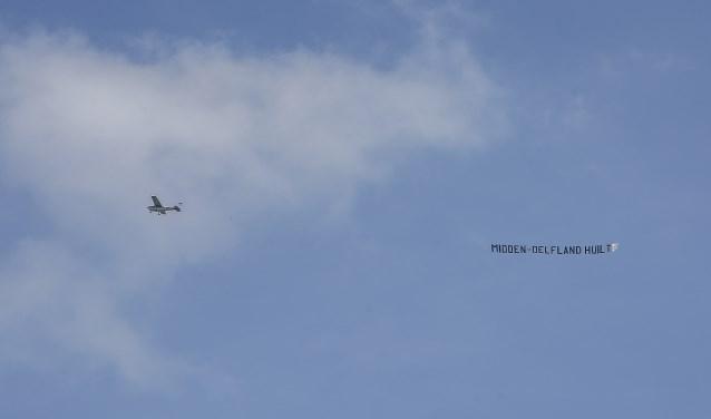 Eén van de twee vliegtuigjes die maandag de lucht in gingen.
