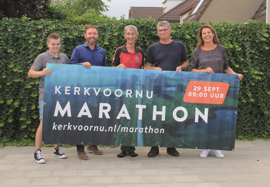 De marathoncommissie van KerkvoorNu met vlnr: Rianne Jansen, Christiaan Vos, Bart van den Broek, Arjan Weeteling en Nelleke Barten.