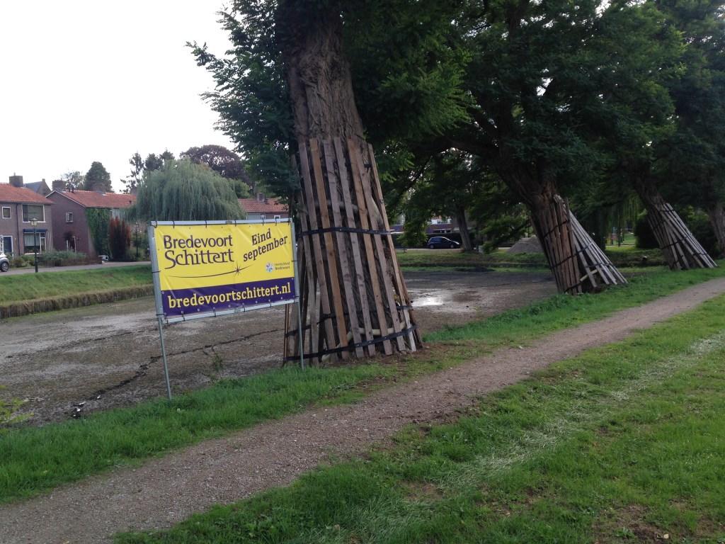Een aantal bomen zijn afgeschermd om beschadiging door de kraan van de Firma Hoftijzer te voorkomen.  Foto: Leo van der Linde © Persgroep