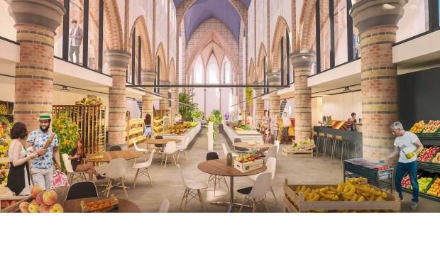 Artist impression van de vernieuwde Cuyperskerk met onder andere de permanente boerenmarkt.