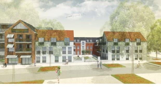 Schets zorgcentrum Pantein Hof van Loon, gezien vanuit de Venrayseweg.