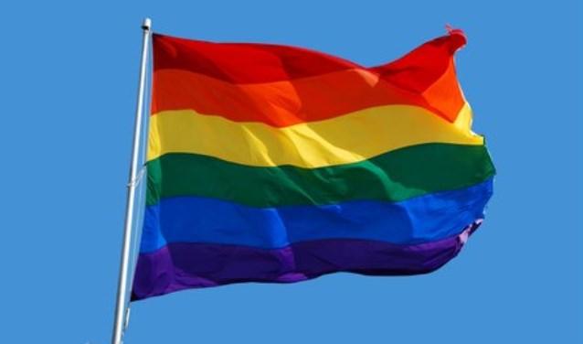 De Regenboogvlag zoals die ook vanaf Veenendaalse kerken zal wapperen.