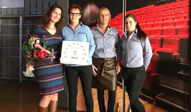 Een vertegenwoordiging van het team van Cascade nam de plaquette afgelopen week in ontvangst.