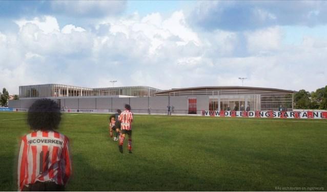 Impressie van het zijaanzicht van het gebouw met op rechts het te verbouwen bestaande gebouw en op links het nieuw aan te bouwen deel.