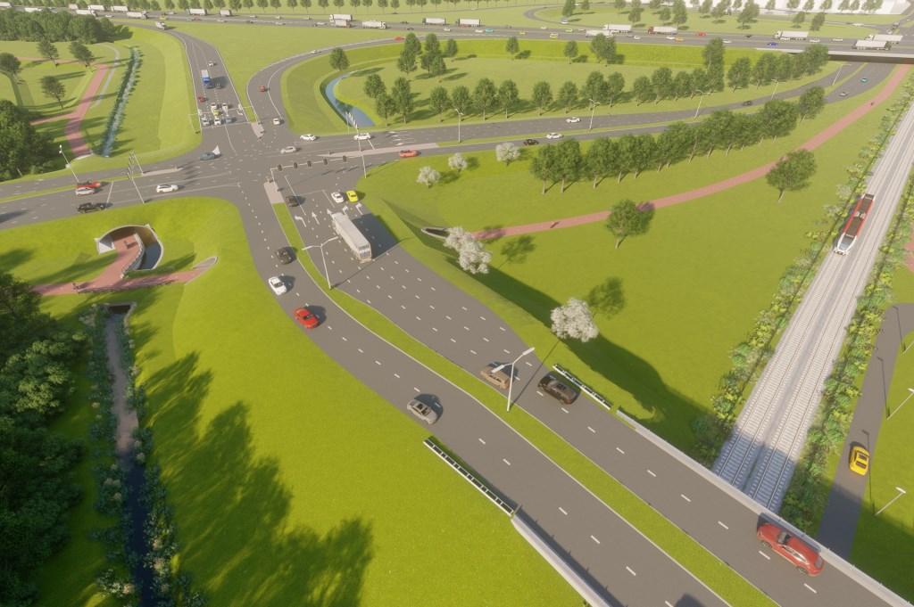 Impressie toekomstige aansluiting A12 Zevenaar-Oost.  Rijkswaterstaat © Persgroep