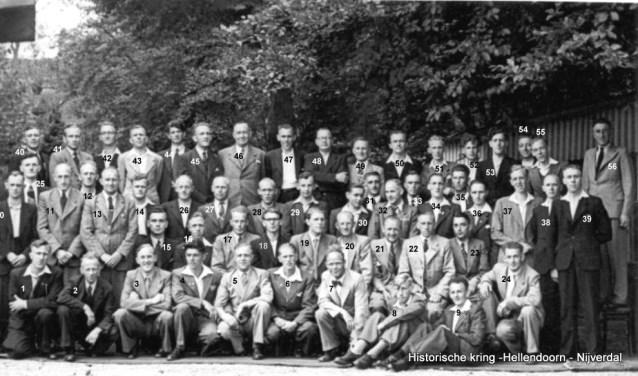 Het Nijverdals Christelijk Mannenkoor op een foto uit (vermoedelijk) 1952.