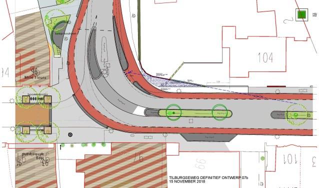 Op de tekening is een gearceerd gebied bij de tuin van Tilburgseweg 104 aangegeven en een stippellijn markeert de nieuwe zichtlijn