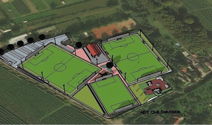 Een impressie van het nieuwe complex van HRC'14. De voetbalvereniging hoopt zo snel mogelijk groen licht te krijgen om dit te realiseren. Het Maasdrielse college wil graag meedenken over de toekomst van de club.
