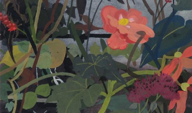 Omsloten Tuin 2, 16 x 21 cm, gouache 2018, Leon Tebbe