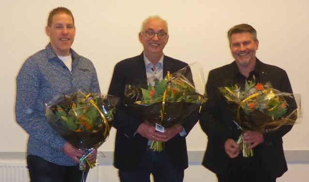De drie jubilarissen van Pro Patria v.l.n.r. Ronald Stam, Kees Kooij, Anthony Vermey
