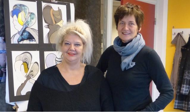 Mirjam Groothedde (links) en Maria Strikkeling exposeren van 27 januari tot 21 februari in kunstfabriek De Transformatie in Arnhem.