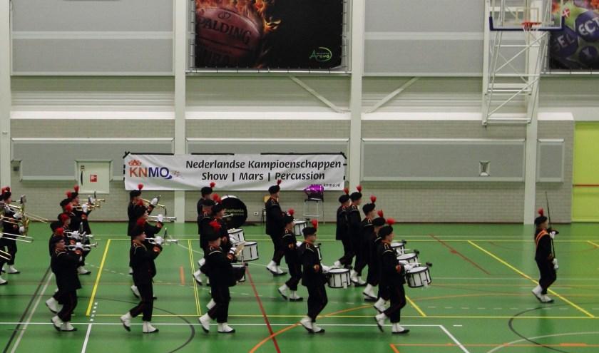 Een deel van de drumfanfare van Euphonia tijdens het marcherende deel van het NK. De Eibergenaren wonnen twee keer goud in Wijchen.