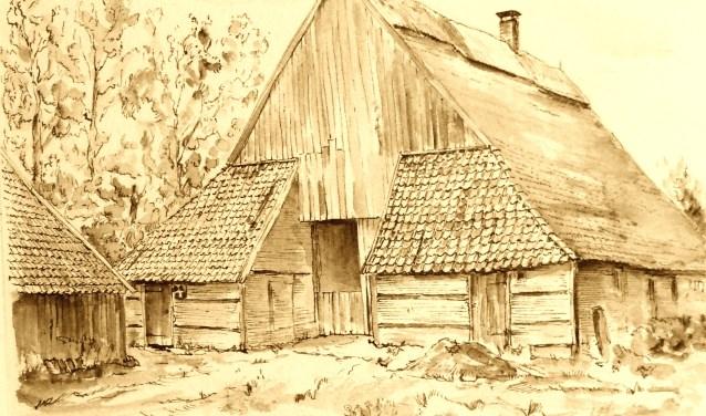 Boerderij 'n Top aan de Topweg, getekend door Jo Niks. Eigen foto