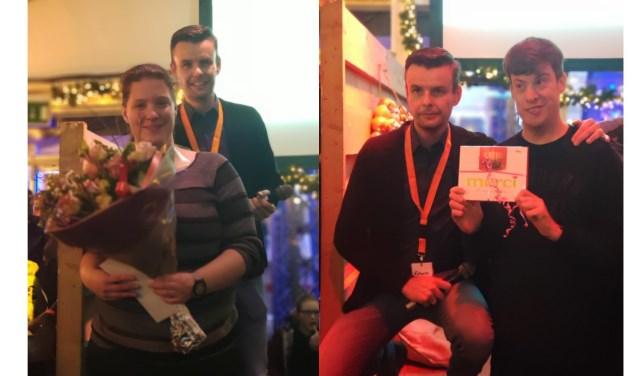 Marieke Drent en Patrick Sonderen werden als vrijwilliger van het Winterfestijn 2018-2019 even in het zonnetje gezet.