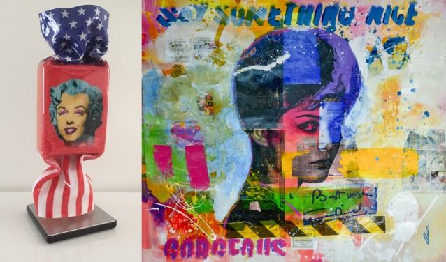Onder andere deze kunstwerken in pop-artstijl zijn tot zondag 17 maart te zien bij galerie Sous-Terre, links het sculptuur 'Homage to Marilyn Monroe' door Ad van Hassel en rechts 'Zonder titel' van Claus Costa.