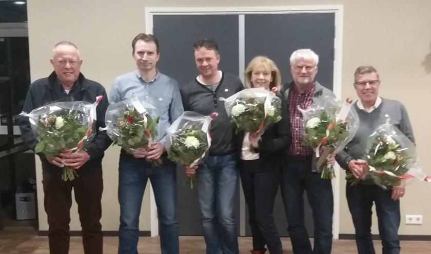 De jubilarissen, vlnr Arend Rolden, René van Brussel, Ronald Dijkerman, Tiny van Dam, Fred Koning, Henk Dommerholt.