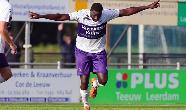 Ansu Camara speelt na de zomer voor hoofdklasser Unitas. Hij scoorde meer dan 30 doelpunten voor de Leerdammers. (Foto: Jeroen de Bruin)
