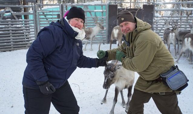 Sandra en Arjen bij het rendieren tellen, oftewel 'Renskiljning', in Zweden