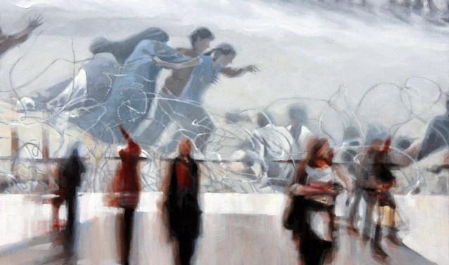 'In parallel', een olieverfschilderij van Saskia Dingelstad is één van de geëxposeerde werken.