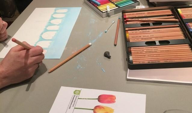 Tijdens de lessen in het atelier