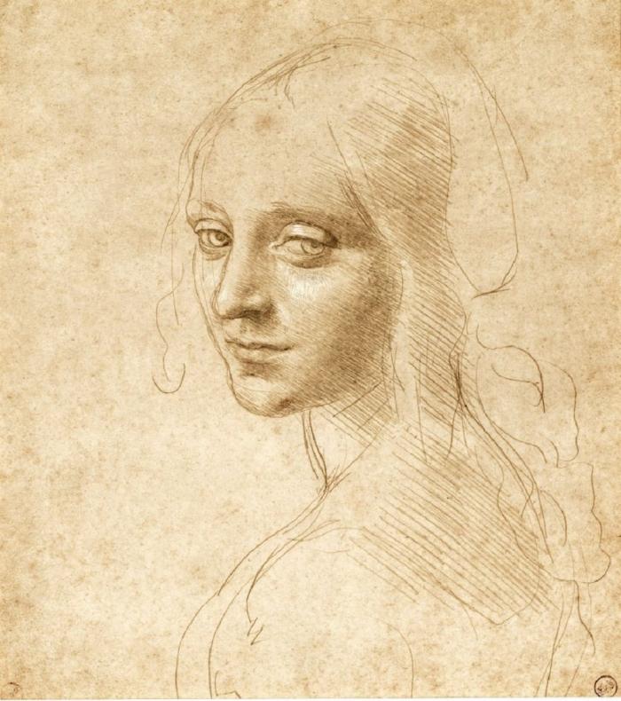 Leonardo Da Vinci, Hoofd en schouders van een meisje, driekwart naar links, ca 1490. Collectie Biblioteca Reale, Turijn
