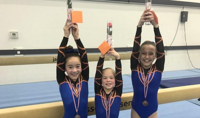 N3 turnsters Exalto Sport. Merel Euyen, Fenne Metz, Tara van der Poel. (Foto: Wendy van der Spek)