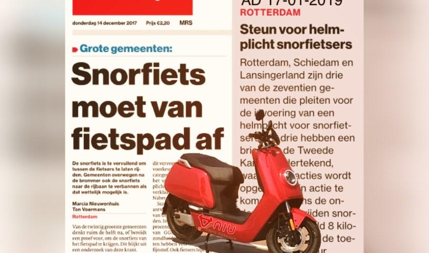 Krantenartikelen over verbannen snorfiets en helmplicht. Voorgrond: elektrische snorscooter.