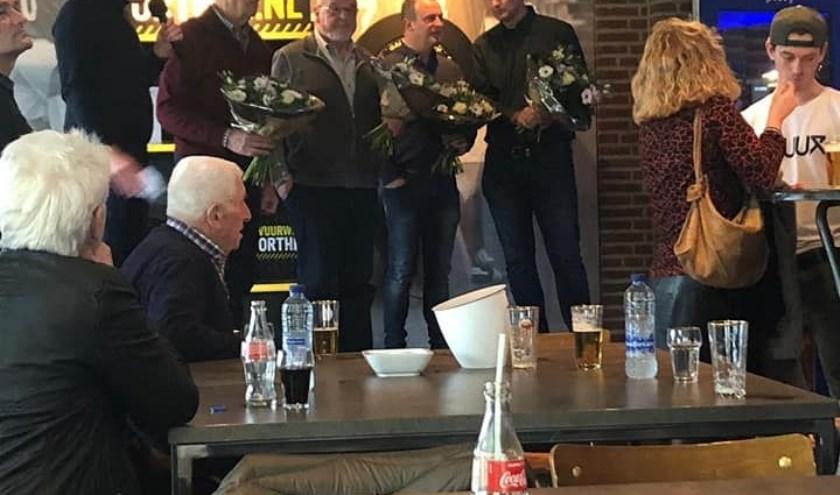 Tijdens de nieuwjaarsreceptie in de kantine van VV Haarsteeg werden ook alle jubilarissen gehuldigd.
