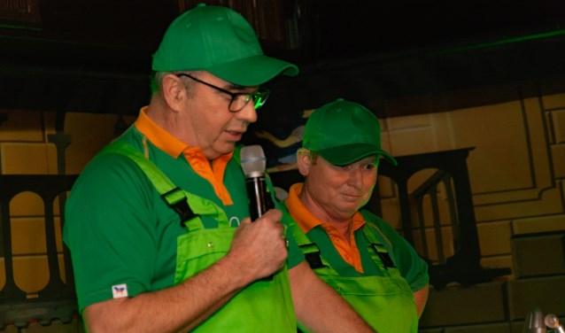 Een van de hoogtepunten tijdens de pronkzitting: buutduo 't Is gruun en 't blief Gruun.