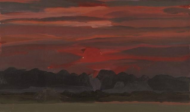 Het schilderij 'Ondergaande zon' van Ger de Greef.