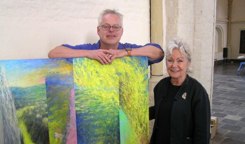 Chris Semmelink en Tineke van den Eerenbeemd. Chris liet zich voor zijn schilderij inspireren door Bonnard, zijn werk omvat oneindige kleurnuances.