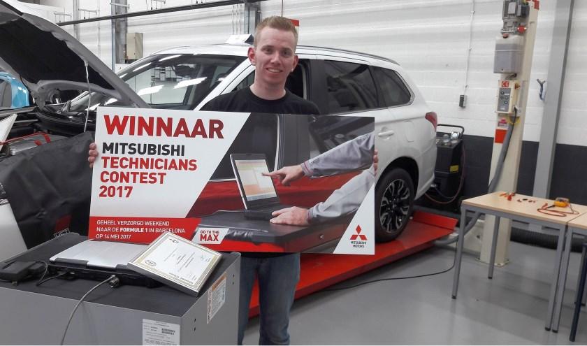 Het ticket voor de mondiale eindstrijd verdiende Arno in juni 2017 tijdens de Europese Mitsubishi Technician Contest.
