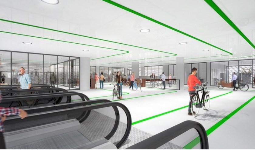 Artist impression ondergrondse fietsenstalling Koningin Julianaplein.