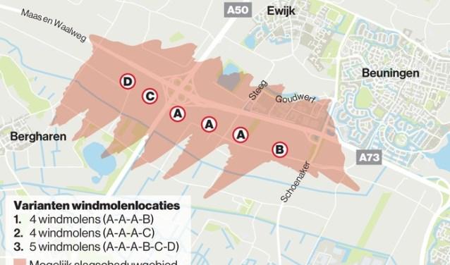 Weergave van de mogelijke planning van windmolens ten zuiden van Ewijk. (Beeld: Rik Bors)
