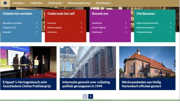 Screenshot van de winnende website.