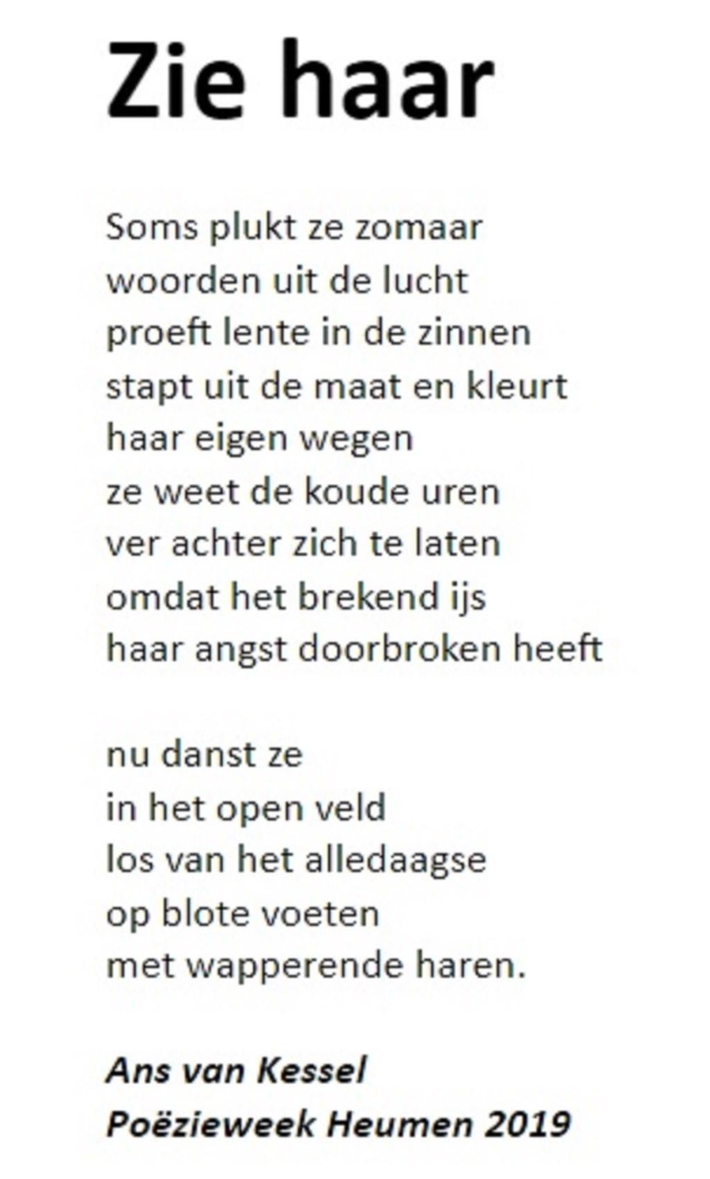 Gedicht 'Zie haar'.  Foto: MariannA Bakker © Persgroep