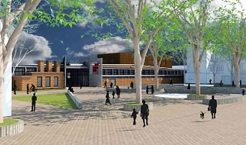 De ruimte voor het gemeentehuis en HAL12 zal ingrijpend veranderen. Het schetsontwerp is niet meer dan een idee. (bron: gemeente Zevenaar)