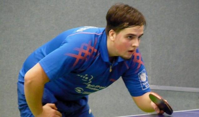 Emanuel Martins Ferreira bezorgde Scyedam in de uitwedstrijd tegen Smash'70 een punt. (Foto: Persgroep/gsv)