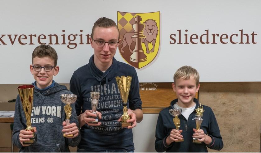 De 3 nieuwe kampioenen, vlnr Karel Peursem, Barend van Dieren en Vincent Langstraat. (Foto: Privé)
