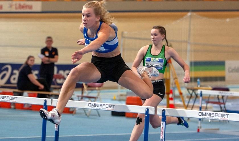 Marleen Baas begon de meerkamp uitstekend met een Twents record op de 60 meter horden.
