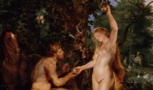 Adam en Eva bij de boom van goed en kwaad.