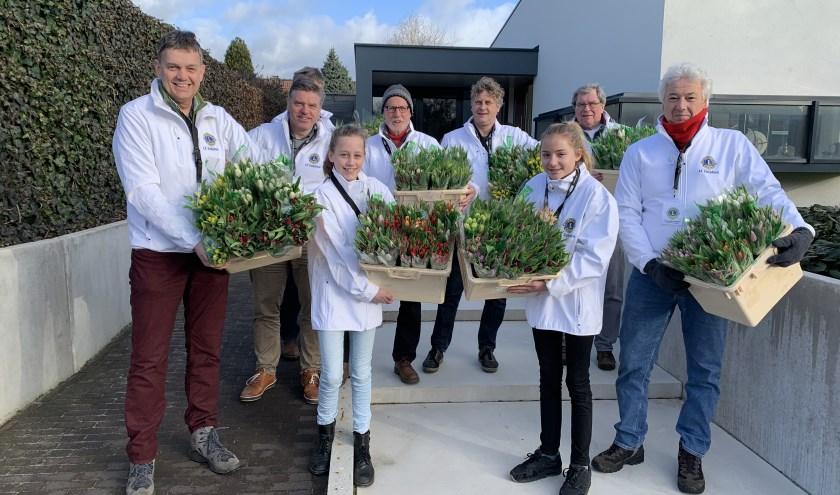 Iedere zaterdag in februari is de Lionsclub Zutphen actief met de tulpenverkoop.